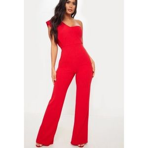 Red Drape One Shoulder Jumpsuit